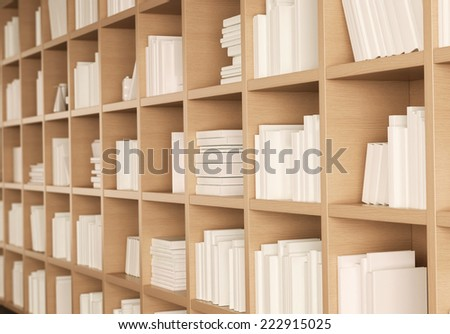 Library bookshelf full of books  - stock photo