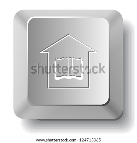 Library. Computer key. Raster illustration. - stock photo