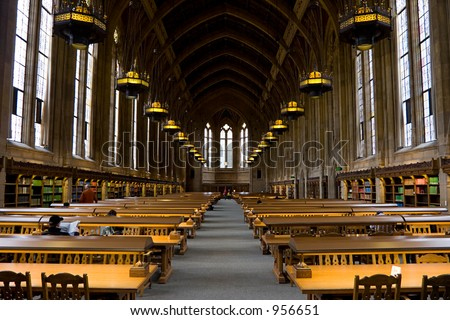 Library hall, ISO400 - stock photo
