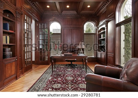 Library in luxury home - stock photo
