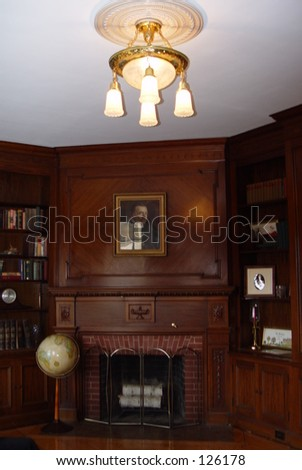 Library in restored haunted mansion - stock photo