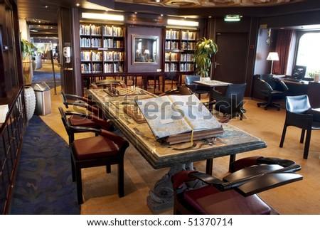 library interior reading room - stock photo