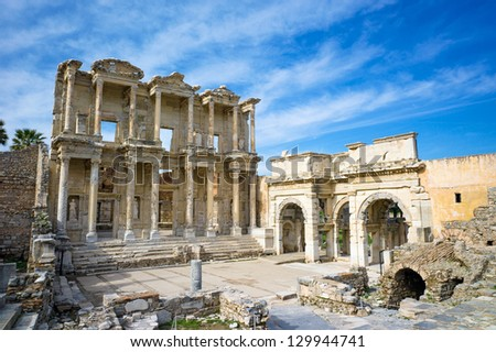 Library of Celsus in Ephesus ancient city, UNESCO world heritage site in Selcuk, Turkey - stock photo