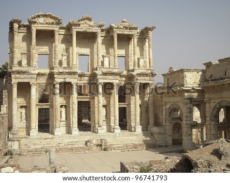 Library of celsus is located in Ephesus an ancient greek city on the west coast of Asia Minor, Izmir province, Turkey