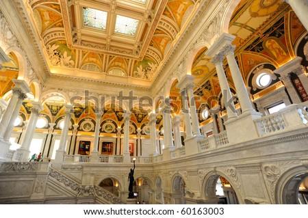 Library of Congress Main Hall - stock photo