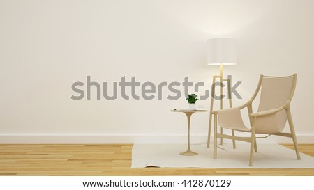 Library or Living room in coffee shop - 3D Rendering
