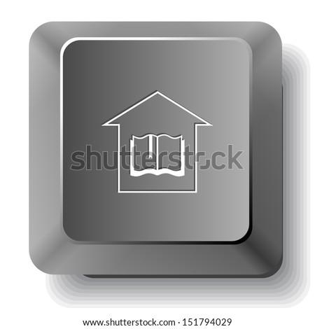 Library. Raster computer key. - stock photo
