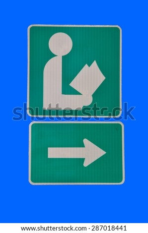 Library sign isolated with blue background - stock photo