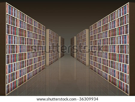 Library with rows of bookshelves filled with books - all the titles and logos of my authorship - digital artwork