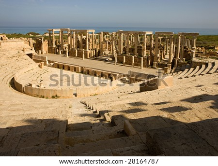 Libya, Africa; amphitheater in Leptis Magna