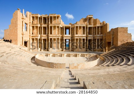 Libya; amphitheatre in Sabratah, Africa - stock photo