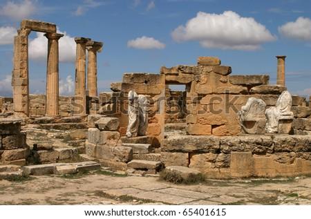 Libya Cyrene Ruins of  Cyrene Unesco World Heritage Site Necropolis - stock photo