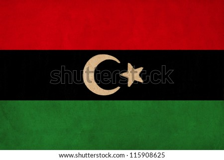Libya  flag drawing ,grunge and retro flag series