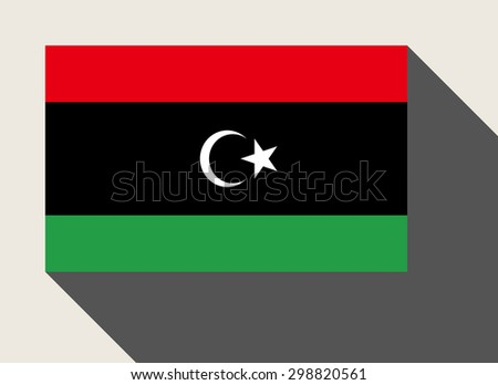 Libya flag in flat web design style. - stock photo