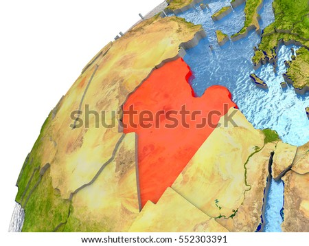 Libya highlighted in red with surrounding region. 3D illustration with highly detailed realistic planet surface and reflective ocean waters. Elements of this image furnished by NASA.