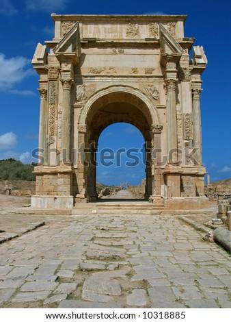 Libya. Leptis Magna. Arch of Septimius Severus. - stock photo