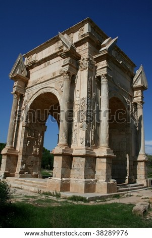 Libya. Leptis Magna. Arch of Septimius Severus. The view is taken looking north-east - stock photo
