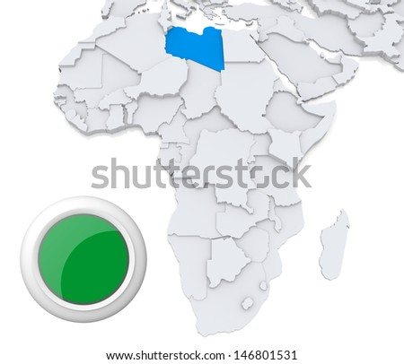 Libya on Africa map - stock photo