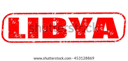 libya red stamp on white background.