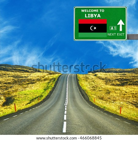 Libya road sign against clear blue sky