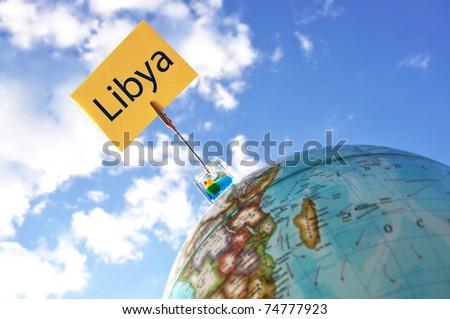 Libya tag on the globe - stock photo