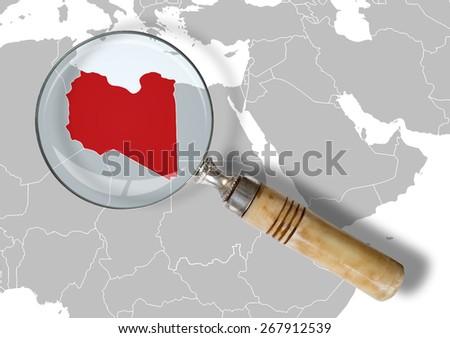Libya under scrutiny - stock photo