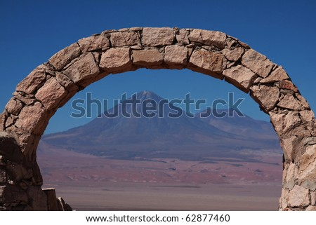 licancabur volcano seen from a panoramic view point in atacama desert near san pedro de atacama in chile - stock photo
