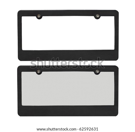 license plate borders one blank one with reflective plate isolated on a white background - stock photo