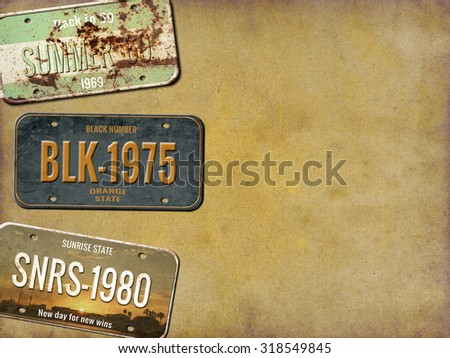 License plate. Old car number - stock photo