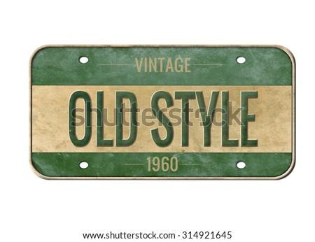 License plate. Old car number. License plate isolated on white. American car number - stock photo