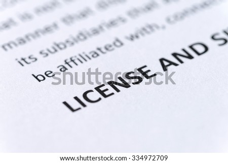 license portion of legal document