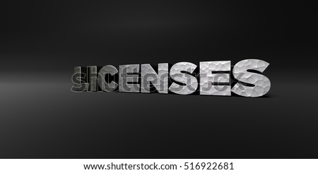 LICENSES - hammered metal finish text on black studio - 3D rendered royalty free stock photo. This image can be used for an online website banner ad or a print postcard.
