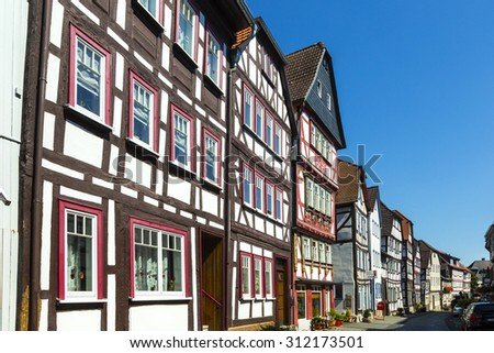 LICH, GERMANY - AUG 30, 2015: view of famous old town of Lich, germany.The first known mentioning of Lich dates back to 790 in the Lorsch codex.