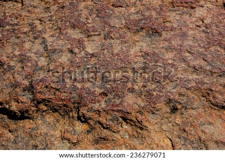 Lichen and weathered rhyolite rock, Smith Rock State Park, Central Oregon - stock photo