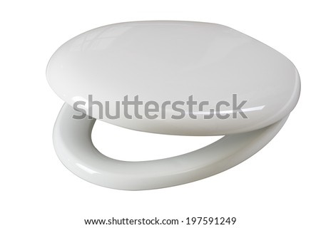 Lid for toilet seat isolated on white background with clipping path  - stock photo