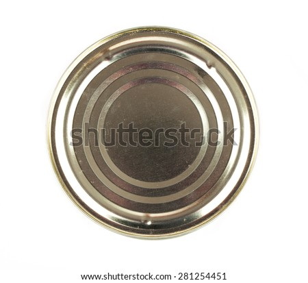 Lid or Base of Food Tin Can, isolated on white background - stock photo