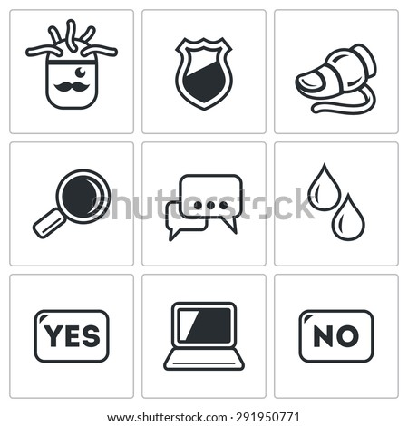 Lie detector. Check the lies and truth. Isolated Flat Icons collection on a white background for design - stock photo