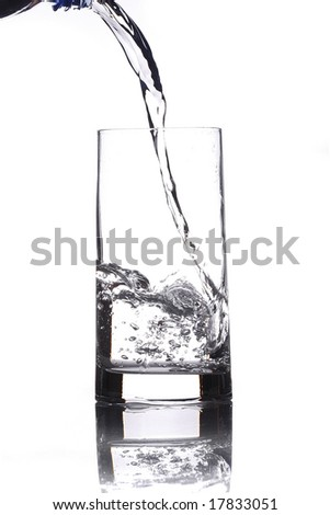 lie down water in a cup isolated in white background - stock photo