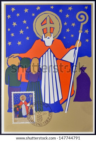 LIECHTENSTEIN - CIRCA 1981: A stamp printed in Liechtenstein shows Saint Nicholas, christmas, circa 1981