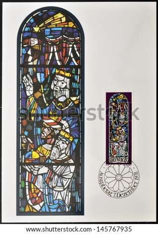 LIECHTENSTEIN - CIRCA 1978: Stamp printed in Liechtenstein dedicated to Chruch Windows of Triesenberg, shows Adoration of the Magi, circa 1978