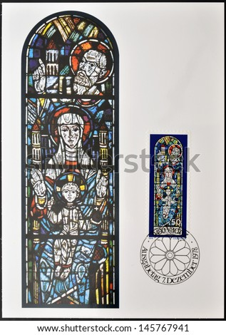 LIECHTENSTEIN - CIRCA 1978: Stamp printed in Liechtenstein dedicated to Chruch Windows of Triesenberg, shows enthroned Madonna with St Joseph, Patron Saint of Triesenberg Church, circa 1978