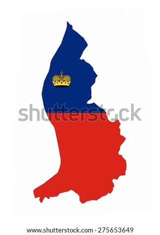 liechtenstein country flag map shape national symbol - stock photo