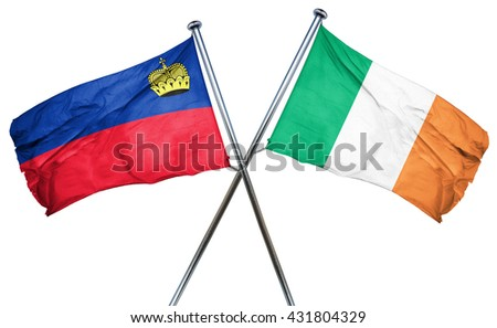 Liechtenstein flag with Ireland flag, 3D rendering