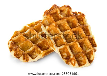 Liege waffles, pastries isolated on white - stock photo