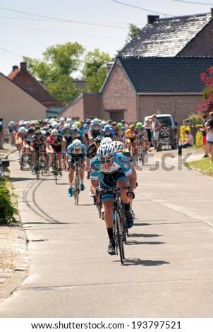 Lierde, BELGIUM - MAY 18, 2014: Cycle race in Belgium, Lierde, 18 May 2014, Elite z.c./U23, 1.12B, 119 km.  Sint-Martens-Lierde Tour - stock photo