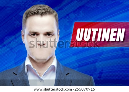 """Lies and hidden problems, television announcer  without a mouth on a background of the inscription """"News"""" in Finnish - stock photo"""