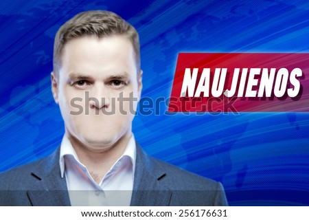 """Lies and hidden problems, television announcer  without a mouth on a background of the inscription """"News"""" in Lithuanian - stock photo"""