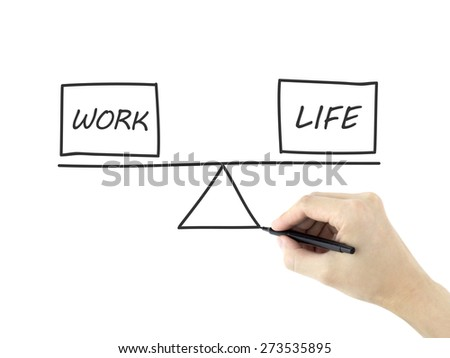 life and work balance drawn by man's hand over white background - stock photo