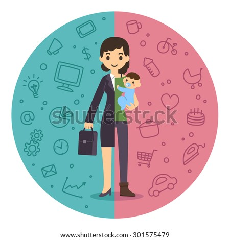 Life and work balance. Young businesswoman in suit and with baby son. Background is divided in two theme parts. - stock photo