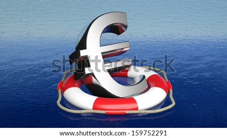 Life belt with euro sign in open sea - stock photo